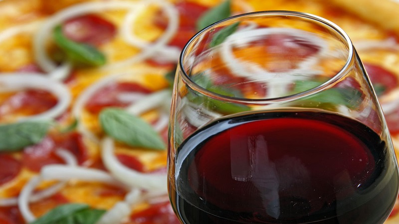 wine and pizza